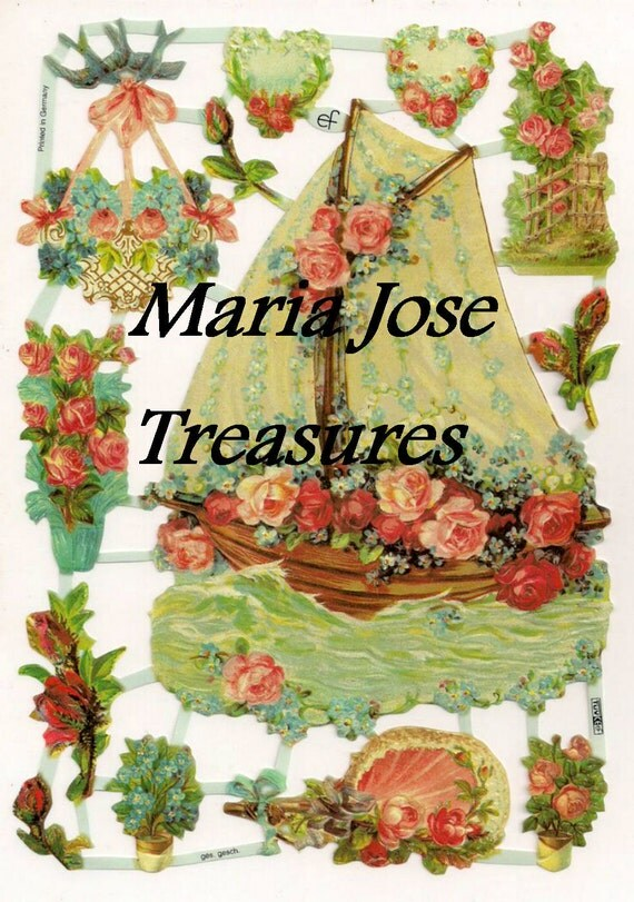 "Vintage Scraps, Cromos ""Flower Boat"" - Digital Download"