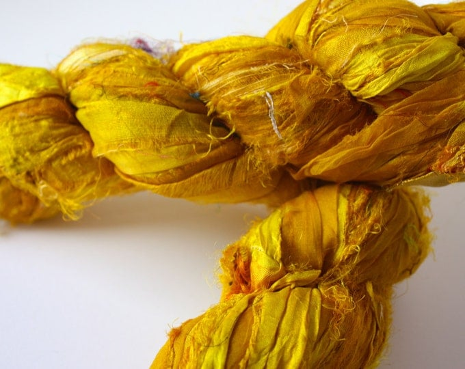 25% OFF SALE*** Recycled Sari Silk Ribbon - Yellow