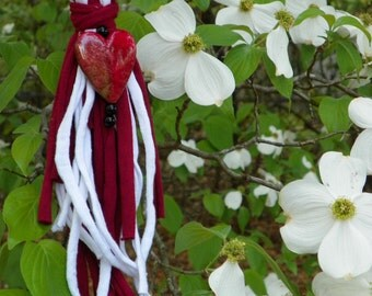 Braided Scarf Necklace in Red and White with Heart Charm Gift for Her