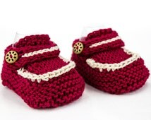 Hand Knit Baby Loafer Booties, Newborn Booties, Modern Booties, Cute Newborn Booties, Red White Newborn  Booties, Summer Shoes