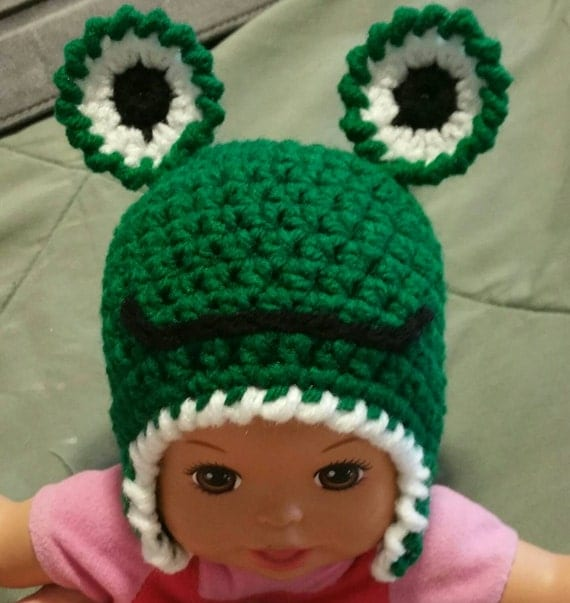 Green Crochet Frog Hat with ear flaps Cute by ...