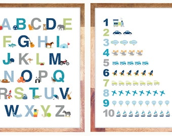 Alphabet & Numbers Prints for Download sized to 8x10 inches - Personal Use
