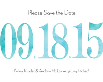 Watercolor Number Save the Date Card