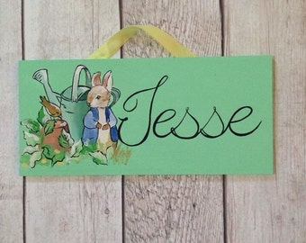 Peter Rabbit Name Sign for Child's Room or nursery