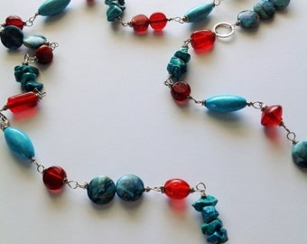 Beautiful turquoise, red and silver necklace
