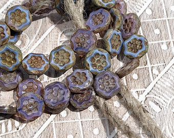 Purple Mix Picasso 13mm Flower Coin Table Cut Czech Glass Beads x 6