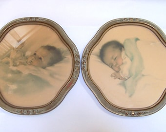 Framed Pair Bessie Pease Gutman Vintage Lithographs, Awakening and A Little Bit of Heaven, Nursery Art