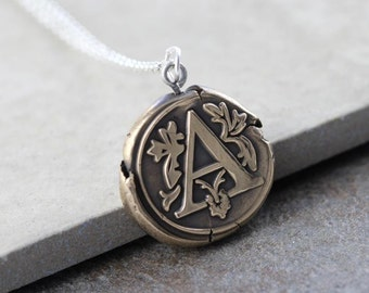 Monogram Necklace Wax Seal Bronze Pendant Personalized Jewelry Sterling Silver Chain Initial Necklace Mixed Metal Necklace