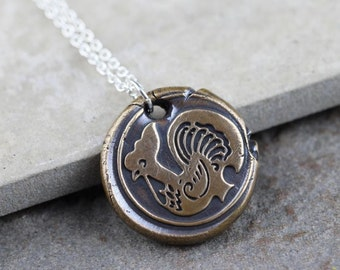Rooster Necklace Chinese Zodiac Pendant Wax Seal Necklace Chinese Astrology Bronze Pendant Sterling Silver Chain Mixed Metal