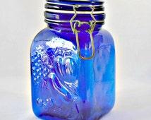 Blue Cobalt Glass Canister Embossed Jar, General Store Lid, Metal Wire Bale Locking Jar, Blue Canning Jar, Kitchen Storage Container