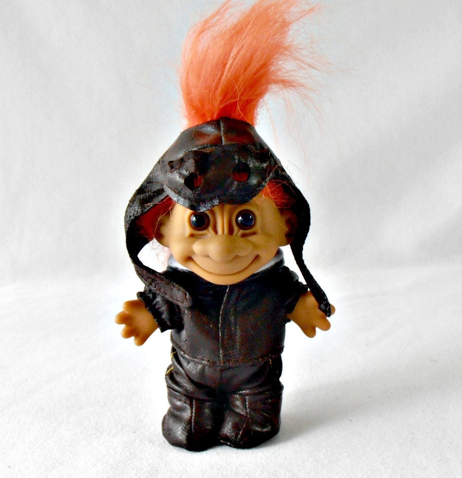 Vintage Russ Troll Doll Aviator Pilot Troll Bomber Jacket