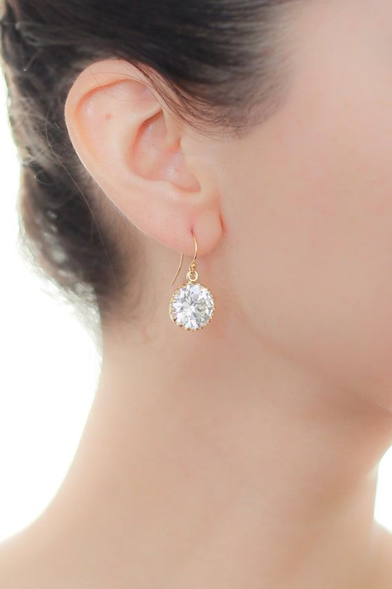 round cz gold earrings