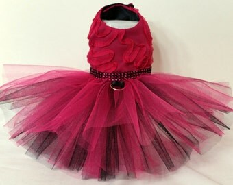 Fuchsia Dazzle! Harness Dress XXSmall Dog Dress to X4 Large Dog Dresses, Dog Tutu, Dog Clothes, Tutu Dog Dress, Pet Clothes.