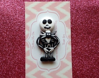 Jack skeleton clay bow center or pendant