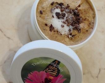 Chocolate Body Scrub with brown sugar & Cocoa Butter with essential oils - exfoliating scrub
