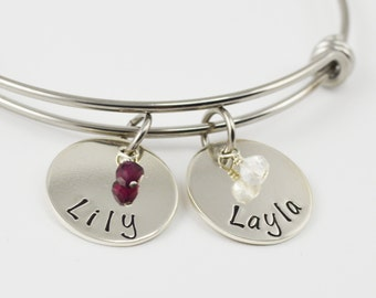 Adjustable Bangle Bracelet with Custom Names and Birthstones - Stacking Bangles