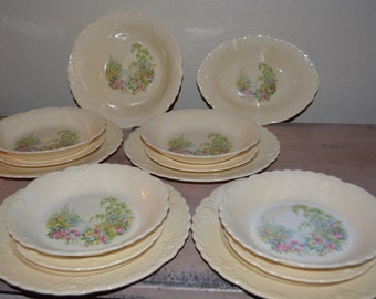 14 pc Taylor Smith Taylor Co China Transferware Antique Dishes 4 Place Settings 2 Serving Bowls