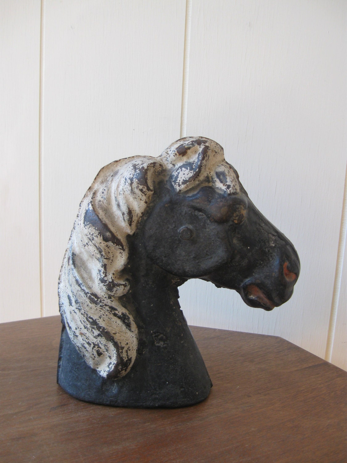 Antique Horse Doorstop Cast Iron Horse Head Vintage By