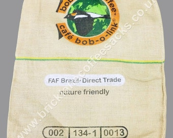 Bundle of 10 printed coffee sacks jute hessian burlap