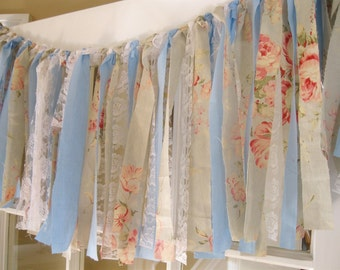 Shabby Chic Ribbon Garland, Photo Booth Backdrop, Cottage Chic Lace Garland, Shabby Chic Curtains, Rag Garland