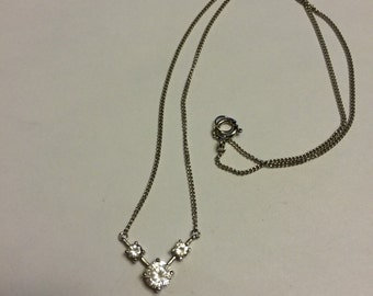 """Vintage fashion CZ sterling silver necklace, 925 silver chain, 16"""""""