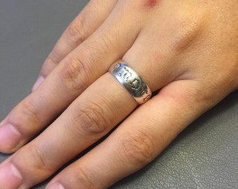 """Vintage sterling silver handmade ring, Mexico 925 silver ring, engraved """"love"""" inside and """"more"""" outside, size 7"""