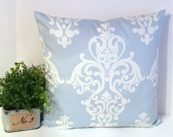 "18"" x 18"" Seafoam/White Damask Design Envelope Style Pillow Cover"