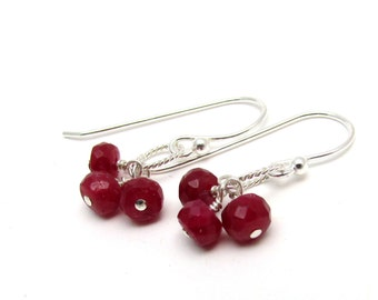 Red ruby earrings, red cluster earrings, July birthstone jewelry, gold ruby jewelry, genuine ruby birthstone, sterling silver ruby jewelry
