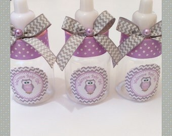 "12 small 3.5"" Owl baby shower favors - chevron owl baby shower favors- owl baby shower- owl girl baby shower-purple and gray baby shower"