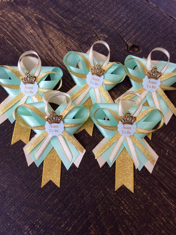12 guest pins for baby shower teal baby shower mint and gold baby