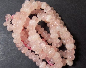 "Rose Quartz Carved  Beads , Size 8 mm Approx ,15"" - 1 Strand, Cut beads, Round Shape"