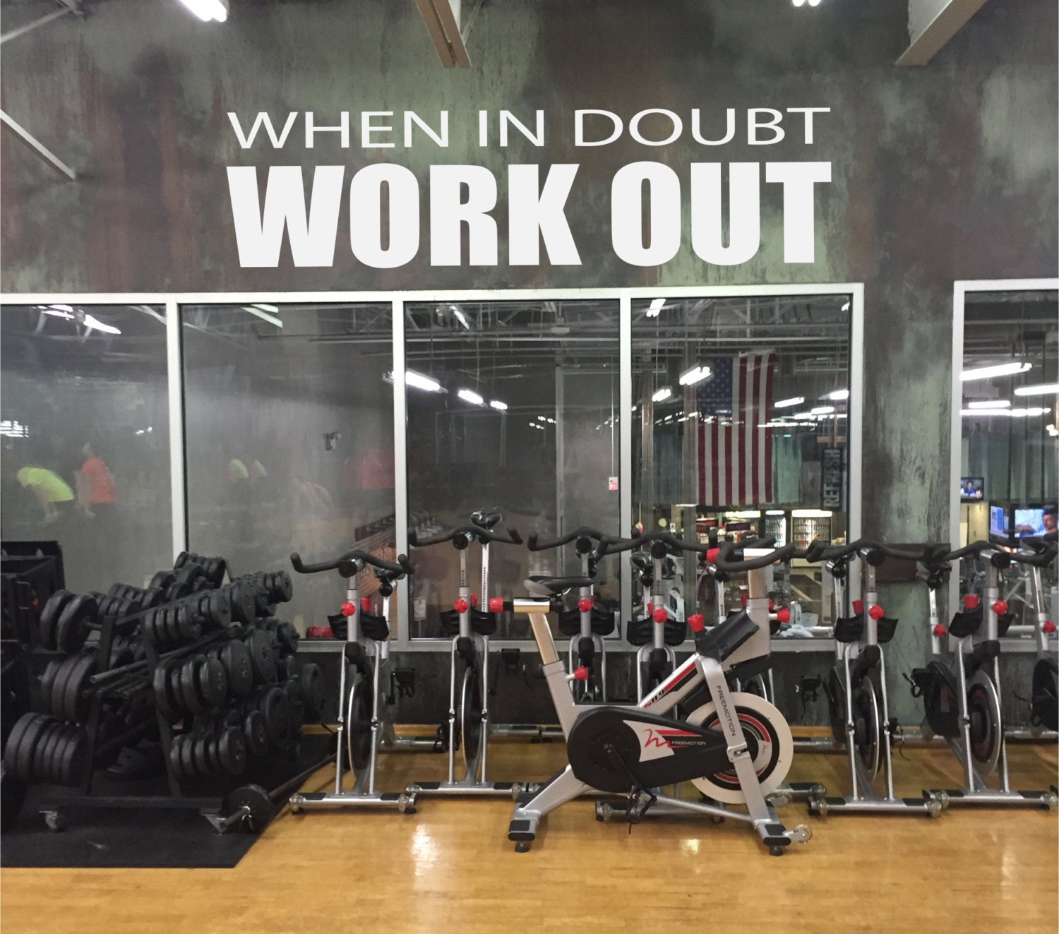 Work out room ideas motivational gym decal when in doubt