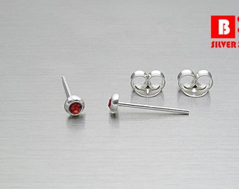 925 Sterling Silver Earrings, Round Earrings, Crystal Red Earrings, Stud Earrings (Code : E29C)
