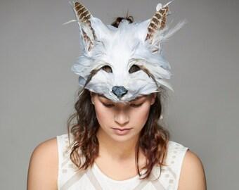 Luxury White Feather Fox Mask, Snow Fox Headdress, Arctic Fox Mask, Woodland Animal Mask, Carnival Mask, Christmas Masquerade Mask, Cosplay