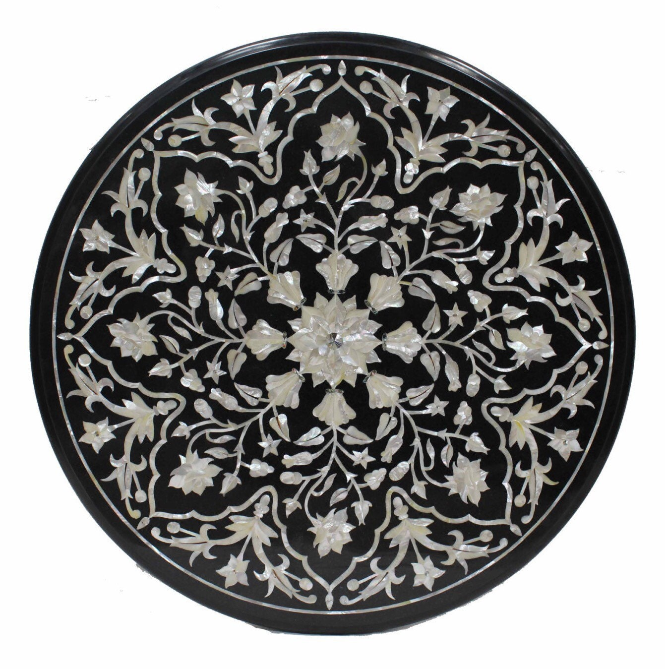 Marquetry Marble Coffee Table: Round Coffee Table Top / Mother Of Pearl Inlay Furniture