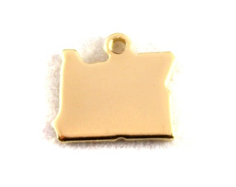 2x Gold Plated Blank Oregon State Charms - M115-OR