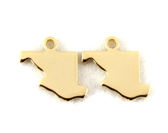 2x Gold Plated Blank Maryland State Charms - M115-MD
