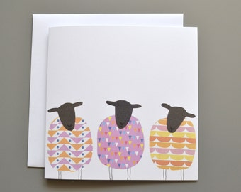 Sheep Birthday Card - Sheep Blank Card - Three 3 patterned Sheep - Notecard - General Card