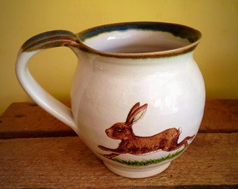 Running hare ceramic pottery mug cup