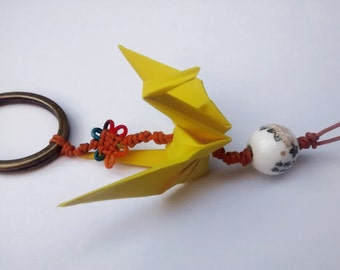 Origami Crane Keychain with chinese knot