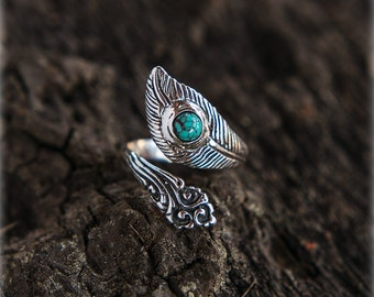 Turquoise Sterling Silver Feather Ring, Silver Feather Ring, Turquoise Silver Ring Adjustable Size, Feather Ring Custom Sizeable