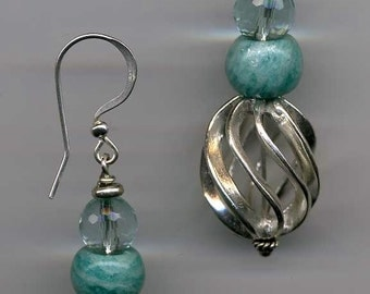 Amazonite Cage Earrings