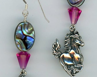 Abalone and Crystal Stallion Earrings