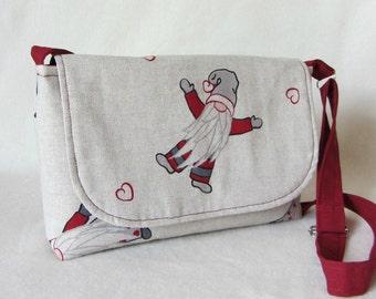 Small messenger bag, crossbody bag, womens purse, Cotton shoulder bag, adjustable strap, red and beige