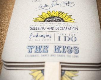 Wedding Program Fans, Sunflower Wedding Program, Order of Service Fan, Wedding Fan, Custom Wedding program fan,
