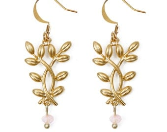 """""""Foliage"""" earrings matte gold 18 k / made in Québec"""