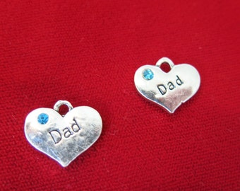 """5pc """"Dad"""" charms in antique silver style (BC642)"""