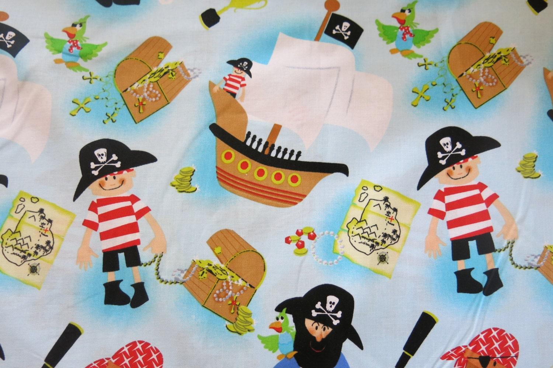 1 2 yard of 100 cotton kids pirate fabric for Kids pirate fabric