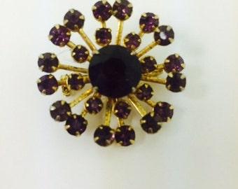 Vintage Amethyst Rhinestone Starburst Brooch
