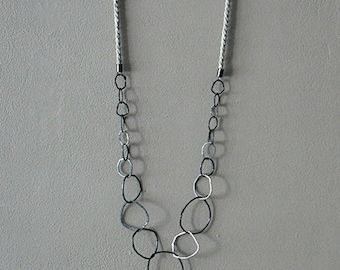 statement long chain sterling silver necklace,  linen necklace